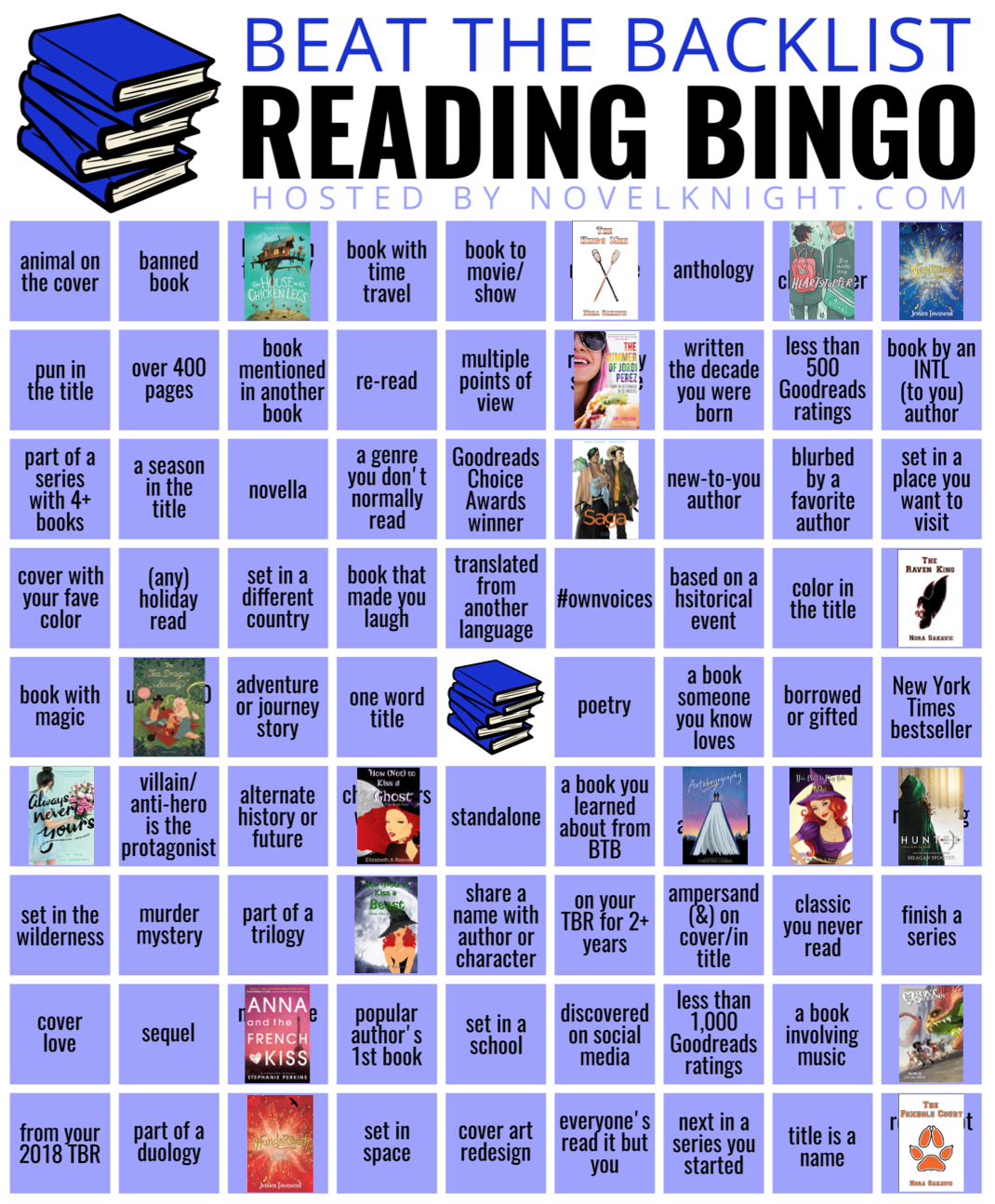 Beat the Backlist Epic bingo with boxes marked off with February reads