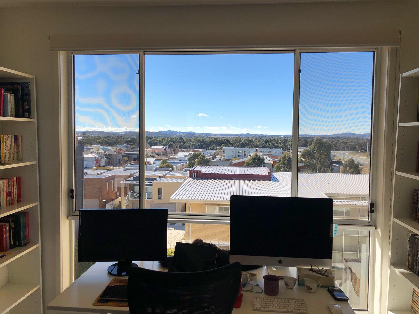 Photo of my desk with the view from the window behind it.