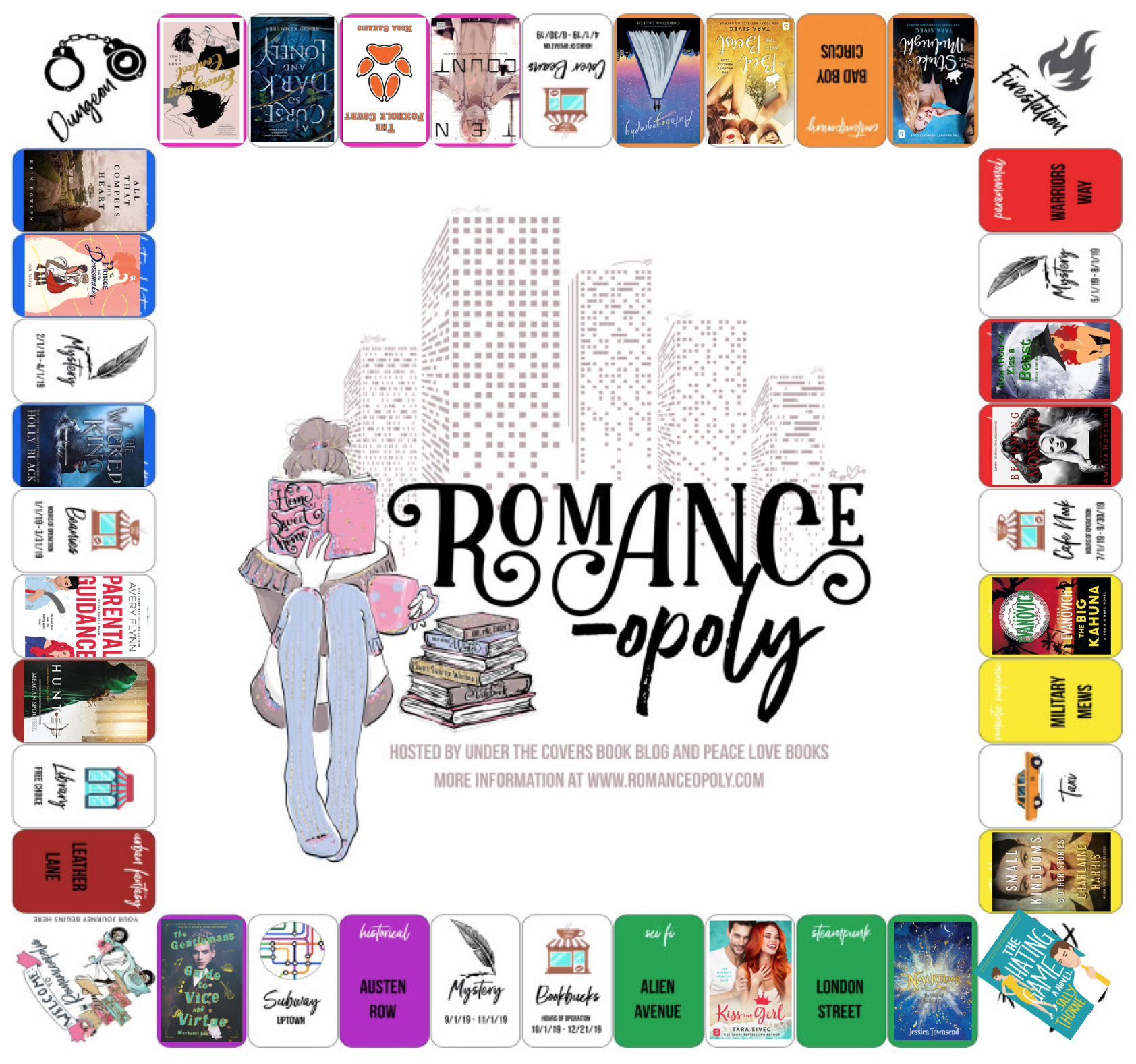 Romance-opoly challenge tracker, progress as at end June 2019