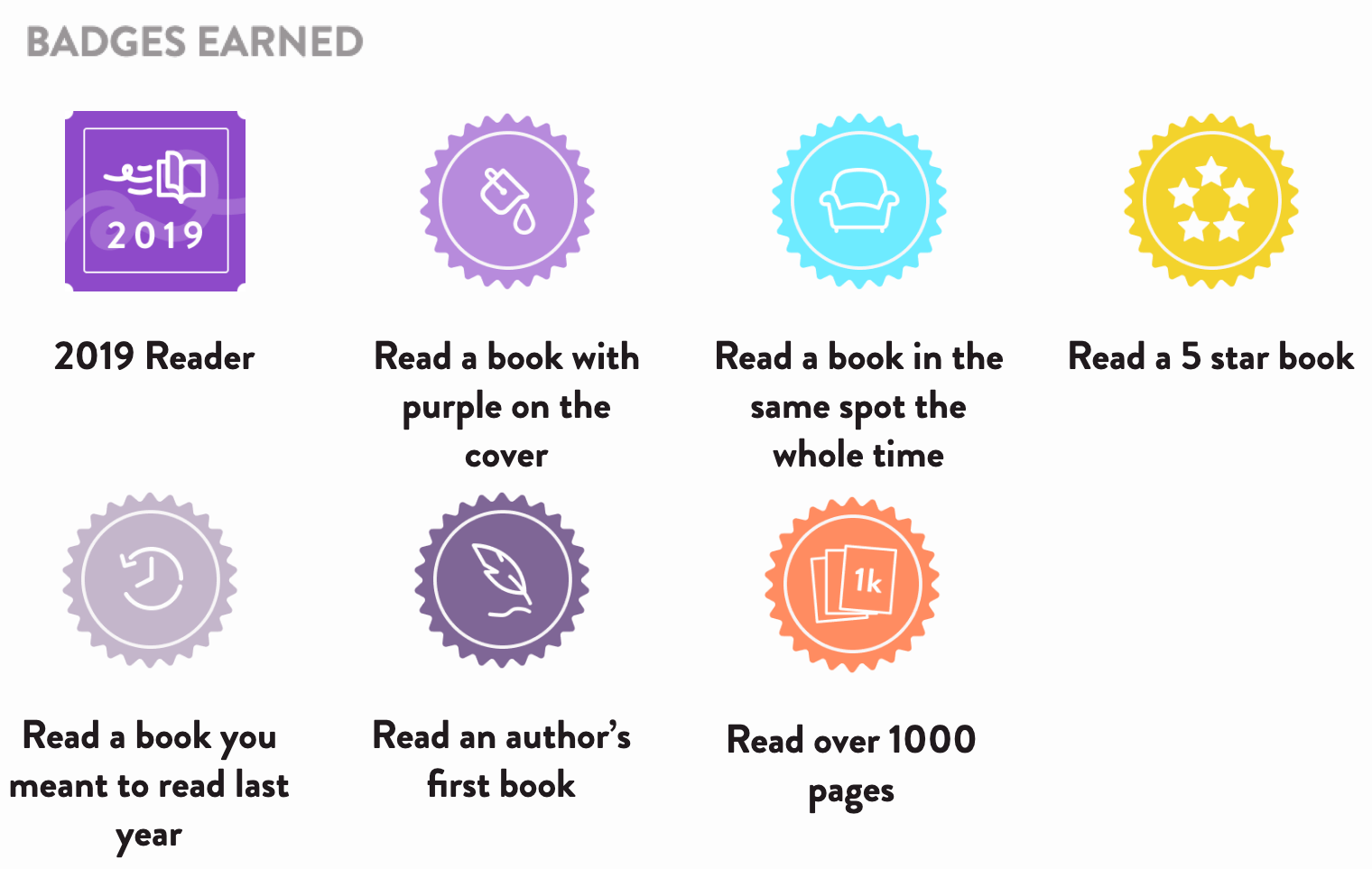 The Reading Rush badges I earned: 2019 Reader, Read a book with purple on the cover, Read a book in the same spot the whole time, Read a 5 star book, Read a book you meant to read last year, Read an author's first book, Read over 1000 pages (7 total)