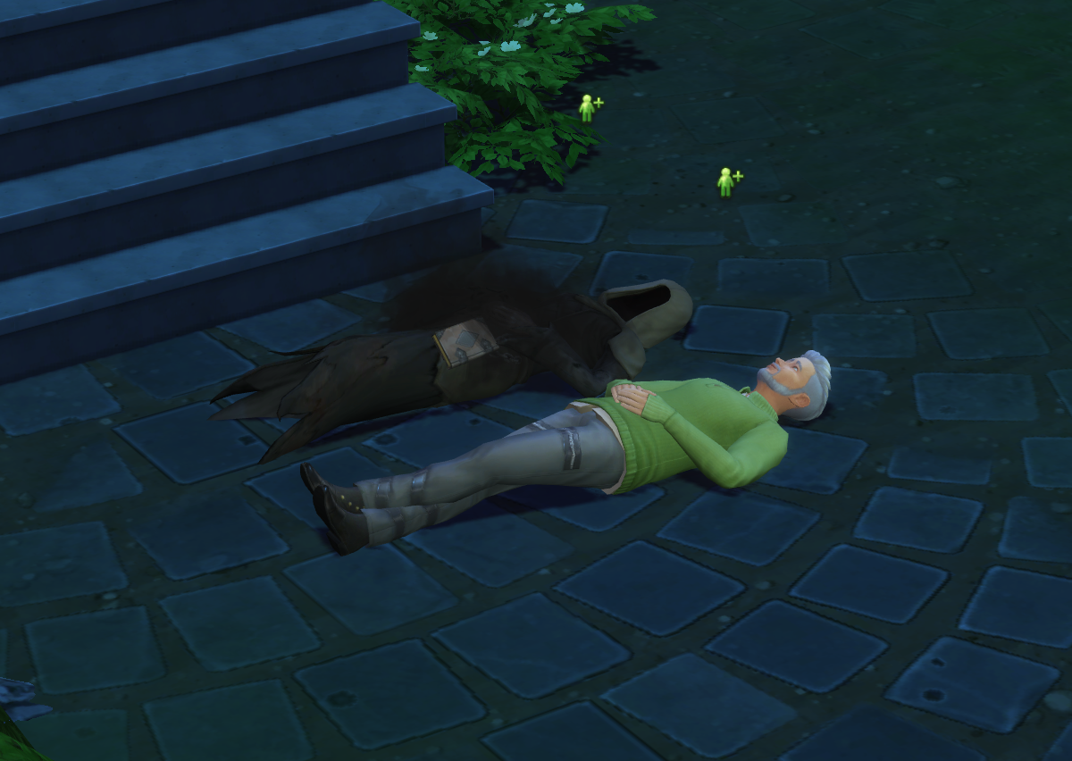 A screenshot of the Sims where a Sim is stargazing with the Grim Reaper
