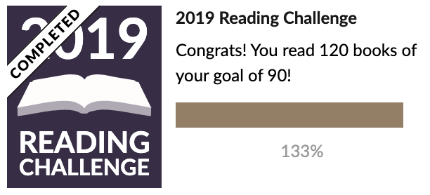 2019 Goodreads reading challenge: 120 books read. 2019 goal was 90. 133% completed.