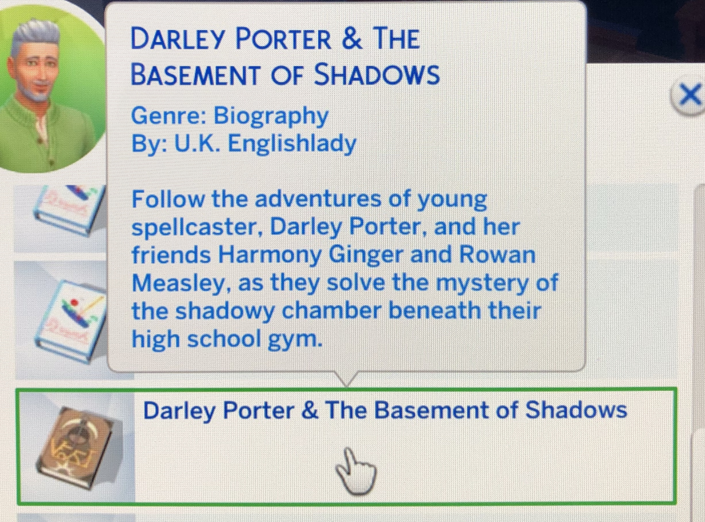 Screenshot from the Sims: book description called Darley Porter and the Basement of Shadows